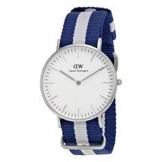 Daniel Wellington Classic Glasgow Eggshell White Dial Navy and White Nylon Ladies Watch (W-0602DW)