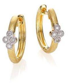 "Jude Frances Provence Diamond & 18K Yellow Gold Small Hoop Earrings/0.65"""