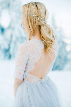 Light gray wedding dress Winter bohemian colored by LiluBridal