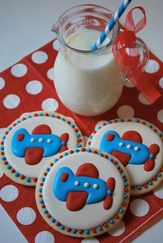 Airplane Decorated Sugar Cookies