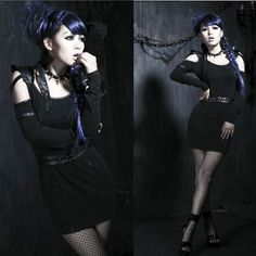 Black Studded Belted Gothic Punk Fashion Mini Sheath Dress Women SKU-11402155