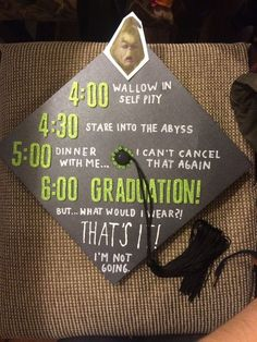 Struggling to figure out how to decorate a graduation cap? Get some inspiration from one of these clever DIY graduation cap ideas in These high school and college graduation cap decorations won't disappoint! Funny Graduation Caps, Graduation Cap Designs, Graduation Cap Decoration, Graduation Diy, High School Graduation, Graduate School, Graduation Quotes, Graduation Announcements, Decorated Graduation Caps