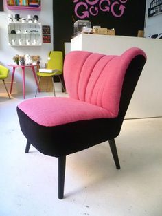 Pink and black vintage chair
