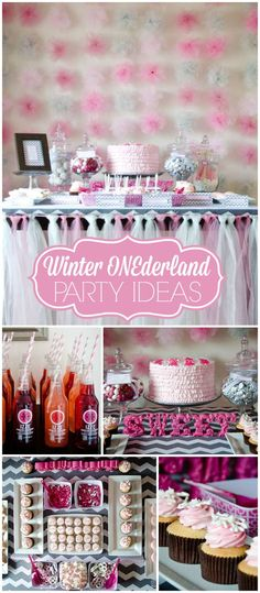 A winter ONEderland girl birthday party in pink and grey! It has a pink menu with lots of sprinkles! See more party planning ideas at CatchMyParty.com!
