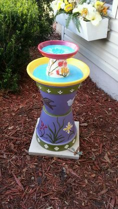 Hand painted, colorful Bird Bath from clay pots.. by Meg's Endeavors ... $125.00