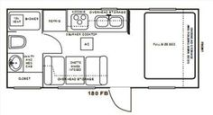 150 s.f. with a tub and a full size bed. Hmmm. Camping Glamping, Diy Camping, Camper Caravan, Campers, Vintage Caravan Interiors, Rv Bus, Cabin Floor Plans, Trailer Build, Basement Apartment