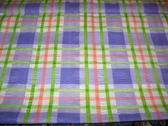 Vintage Seersucker Madras Fabric Plaid Purple by VintageSqualor, $9.95
