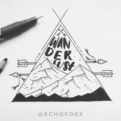 W A N D E R L U S T // #mountains #geometrictattoo #tattoodesign #wanderlust #adventure #pinetrees #triangle #modern #landscape #adventureposter #travel #explore #nomad #arrows #forest #drawing #illustration #mountainpeaks #outdoors