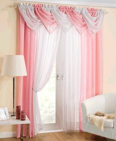 PINK Curtains you will fall in Love with - unique-homedesign Swag Curtains, Voile Curtains, Pink Curtains, Curtains With Blinds, Window Curtains, Rideaux Design, Living Room Decor Cozy, Pink Room, Curtain Designs