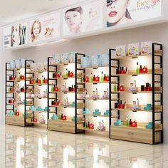 Boutique Interior, Showroom Interior Design, Supermarket Design, Retail Store Design, Cosmetic Shop, Cosmetic Stores, Perfume Store, Shelf Furniture, Rack Design
