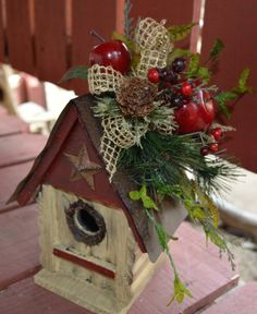 Birdhouse Rustic Bird House Birdhouse Decor by TheBloomingWreath, $33.99