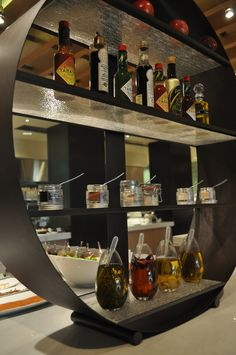 4 tier buffet stand with condiments. By Glass Studio  for Westin Abu Dhabi
