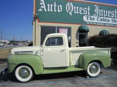 1950 Ford F-1 Pickup, Green & Cream with matching interior, Wide white sidewall tires, Rebuilt 239 CID Flathead V-8, 3 speed manual, Frame off high quality restoration, Powder coated frame. Call Roger or Bob 229-382-4750 or e-mail for additional information. info@auto-quest.com Worldwide shipping available. More information at our web site www.auto-quest.com