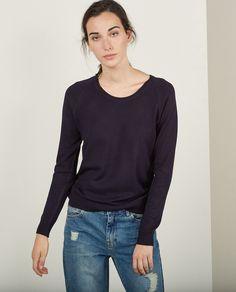 Jersey básico de mujer Sfera en azul marino
