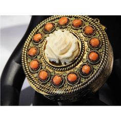 Antique French Pill Box Locket Pendant with Mirror Powder Compact Coral and Bone Brass Filigree Enamel Victorian Art Nouveau 1900s Jewelry ($99) found on Polyvore featuring women's fashion, jewelry and pendants