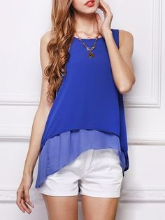 Charming Round Neck Sleeveless T-shirts