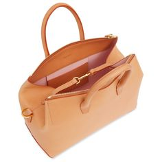 Leather Sidepocket Vegetable Tanned Leather Round Leather Tote Bag
