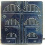 S & S (Solon & Schemmel), San Jose, CA  1921-1936 Deep cobalt blue has a glossy finish on this vintage tile with Art Deco motif.  Their tiles were very well made and are treasured by collectors and novices alike.