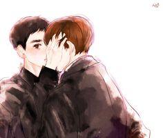 #beaksoo kiss! <3 Exo Fan, Kyungsoo, Fanart, Kiss, Happiness, Couple, Anime, Bonheur, A Kiss