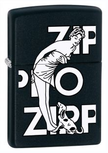Women in Towel with dog Zippo lighter now available from Zippo UK now only £17.50 Black Matte. Packaged in an environmentally friendly gift box. Lifetime Guarantee.