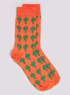 Cactus Motif Socks