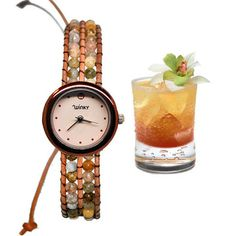 """Tequila Sunrise Bracelet Watch  by Winky Designs - This beautiful Tequila Sunrise Bracelet Watch from Winky Design's new """"On the Rocks"""" collection is a great combination of elegance and fun. Each watch features pink agate woven through genuine leather bracelets to create a design that reflects the ever-tasty tequila sunrise from which it takes its name."""