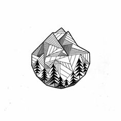 mountain tattoo line drawing Dibujos Tattoo, Desenho Tattoo, Tattoo Sketches, Tattoo Drawings, Tiny Tattoo, Small Tattoos, Montain Tattoo, Art Graphique, Future Tattoos