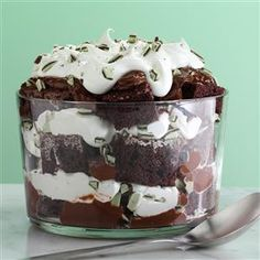 Irish Creme Chocolate Trifle Recipe -I created this yummy chocolate trifle when I was given a bottle of Irish cream liqueur as a gift and had leftover peppermint candy. I've served it with both liqueur and coffee creamer…and candy canes, too! It's always rich and decadent. —Margaret Wilson, Sun City, California