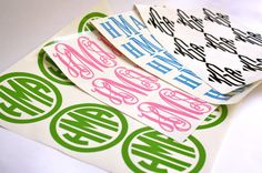 Sheet of 9 Custom Vinyl Vine/ Circle/ Block/ Diamond Monogram Sticker via Etsy
