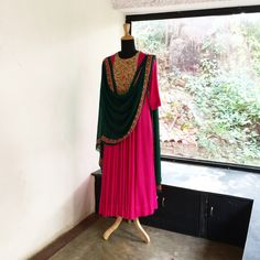 7c2e7d6b326 Pink Green embroidered Anarkali set Palazzo Suit