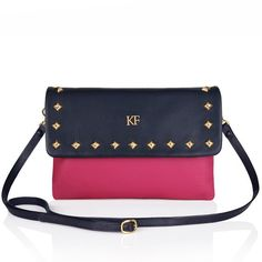 Fuchsia genuine leather woman shoulder bag by KaterinaFoxBags