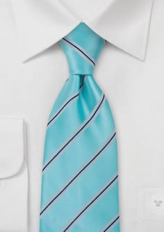 Striped Tie in Aqua and Silver  #bowsnties @Harriet Galloway-N-Ties .com