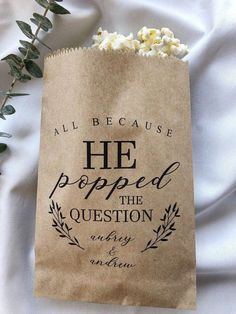 Wedding Favors 75239 Excited to share this item from my shop: He Popped the Question Popcorn Bags, Wedding Favor Bag, Popcorn Buffet Bags, Personalized Wedding Favor Bags, Snack Bar Buffet Bags Wedding Favor Bags, Wedding Favors For Guests, Personalized Wedding Favors, Unique Wedding Favors, Handmade Wedding, Craft Wedding, Food Wedding Favors, Cool Wedding Ideas, Winter Wedding Ideas