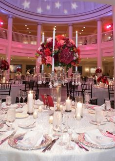 Disney Wedding. Epcot American Adventure Rotunda Wedding Reception. Red Lighting and Decor. Table Scape.