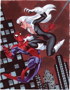 marvel1980s:  Spider-Man and Black Cat by Bruce Timm