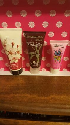 New Pure Spring Cherry Blossom Body Lotion, New Lemon Grass Sage Body Lotion and tried once Tattooed by Inky Paradise Girl Body Lotion.