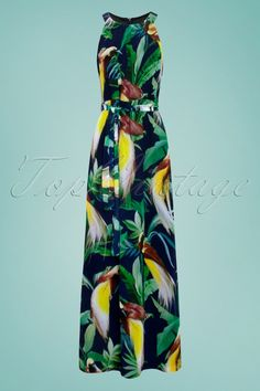 Cathy Parrot Jungle Maxi Dress in Navy King Louie, Top Vintage, Maxis, Maxi Dresses, Parrot, Trousers, Jumpsuit, High Neck Dress, Navy