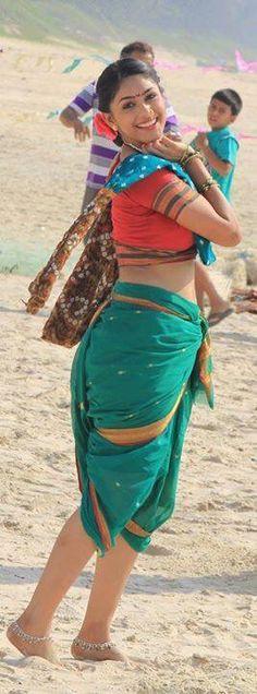 Nauvari Sari on the beach