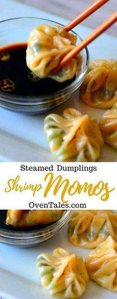 30 Minute Shrimp Momos – The Easiest Steamed Shrimp Dumpling Recipe Steamed Shrimp, Dumpling Filling, Dumpling Recipe, Homemade Dumplings, Wonton Recipes, Appetizer Recipes, Shrimp Recipes, Gnocchi, Gourmet