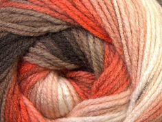 Coral and Brown Ombre Yarn Gradient Yarn Size 3 DK by MYandGG