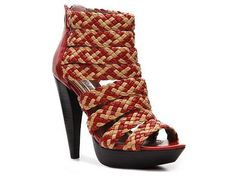 Two Lips Highbeam Bootie; Red/Nude; Compare at $100. $79.95