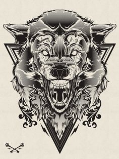 https://www.behance.net/gallery/Halftone-Print-Series-Wolf-Lion/3538419