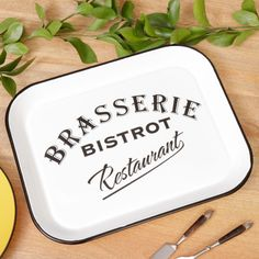 Add some retro France style to your home with this vintage white bistro style serving tray. With the white background in striking contrast to the bold black vintage wording this elegant serving tray will be an excellent addition to any contemporary or country home. Perfect for transporting refreshing drinks to the garden in summer or for bringing all the trimmings to the dinner table this tray can be used year round for many years to come.