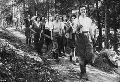 Some of the members of the Women's Timber Corp walking to work during the Second World War. They were recruited by the Forestry Commission and replaced the men who had left to join the armed forces