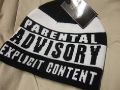 Black and White Stripe Parental Advisory Explicit Content Beanie Hat Warning | eBay