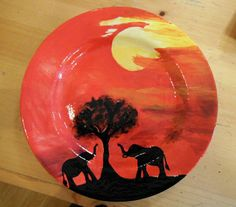 Beautiful elephant sunset plate :)