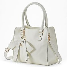 Mellow World Christine Convertible Tote (Beige/Khaki) ($63) ❤ liked on Polyvore featuring bags, handbags, tote bags, vegan purses, vegan tote, zip tote, bow purse and white tote bag