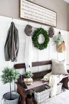 DIY Irish Blessing Sign and Entryway | http://blesserhouse.com - This is so cute! These farmhouse signs normally cost $150+!