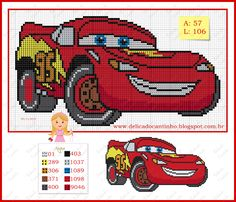 Lighting McQueen Cars x-stitch Cross Stitch For Kids, Cross Stitch Baby, Counted Cross Stitch Patterns, Cross Stitch Charts, Cross Stitch Designs, Disney Cars, Baby Boy Knitting Patterns, Plastic Canvas Patterns, Cross Stitching
