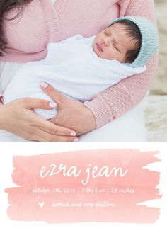 Mom and baby birth announcement inspiration - watercolor baby announcement from Minted.com